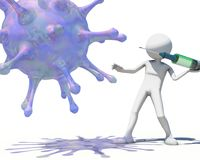 3d man hunting virus vith a syringe. 3D rendering Royalty Free Stock Images