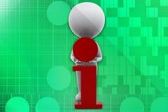3D man I- intelligent illustration Royalty Free Stock Photos