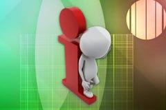3D man I- intelligent illustration Royalty Free Stock Images