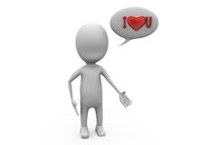 3d man i love you concept Stock Images