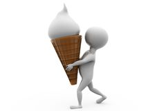 3d man with ice cream cone concept Royalty Free Stock Photography