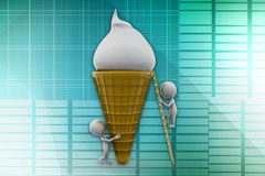 3D man ice cream illustration Royalty Free Stock Photos