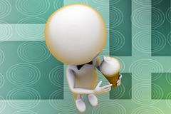 3d man ice cream illustration Royalty Free Stock Photography