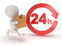 3d man icon running with a box in his hand. Delivery around the clock concept Stock Images