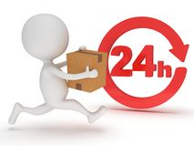 3d man icon running with a box in his hand. Delivery around the clock concept Stock Photo