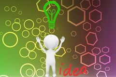 3d man idea and light bulb illustration Stock Image