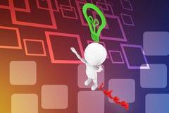 3d man idea and light bulb illustration Stock Photos