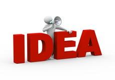3d man idea megphone annoucement Stock Photography