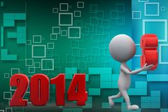 3d man with 2014 illustration Royalty Free Stock Images