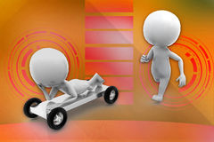 3D man imaginary car illustration Stock Photography