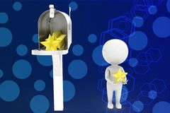 3d man and important mail - box illustration Royalty Free Stock Photography