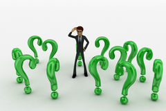 3d man ind between so many green question marks concept Royalty Free Stock Photography