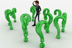 3d man ind between so many green question marks concept Stock Image