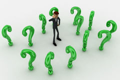 3d man ind between so many green question marks concept Royalty Free Stock Images