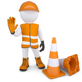 3d man indicates that is impossible further. 3d man in overalls indicates that is impossible further.  render on a white background Royalty Free Stock Images