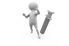3d man injection concept Royalty Free Stock Photos