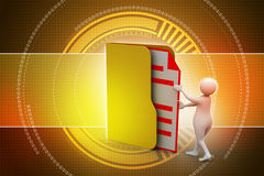 3d man inserting the file in folder. In color background Stock Photo