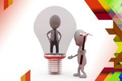 3d man inside bulb break illustration Royalty Free Stock Images