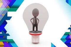 3d man inside bulb illustration Royalty Free Stock Images