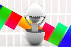 3d Man inside cracked egg Illustration Royalty Free Stock Images