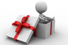 3d man inside gift box Royalty Free Stock Image