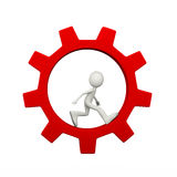 3d man inside rotating gear cog wheel Royalty Free Stock Images