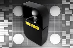 3d man inside surprice menu box illustration Royalty Free Stock Images