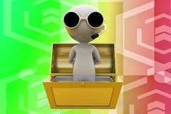 3d man inside a treasure box illustration Stock Images