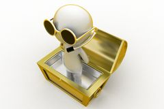 3d man inside a treasure box Royalty Free Stock Photo