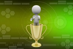 3d Man Inside Trophy illustration Royalty Free Stock Image
