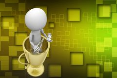 3d Man Inside Trophy illustration Royalty Free Stock Photos