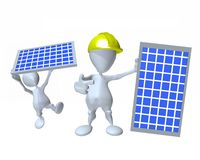 3d man installing a solar panel for clean power conservation Stock Photos