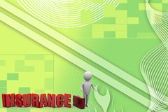 3d man with  insurance Illustration Stock Photo
