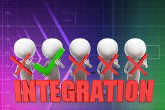 3d man integration illustration Stock Photography