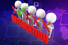 3d man integration illustration Stock Photography