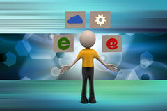 3d man with internet icon Stock Photo