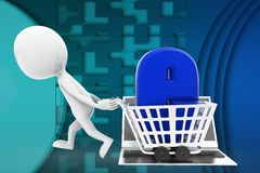 3d man internet shopping illustration Stock Images