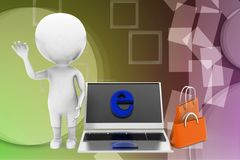3d man internet shopping illustration Stock Photos