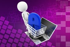 3d man internet shopping illustration Royalty Free Stock Images