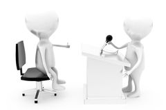 3d man interview speech concept Stock Image