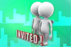 3d man invited illustration Royalty Free Stock Photo