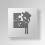 3D man jigsaw puzzle Button Icon Concept. 3D Symbol Gray Square man jigsaw puzzle Button Icon Concept Royalty Free Stock Photography