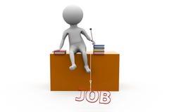 3d man job table concept Stock Images
