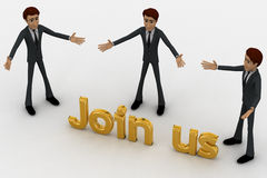 3d man with join us golden text concept Stock Images