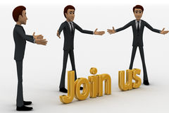 3d man with join us golden text concept Stock Photo