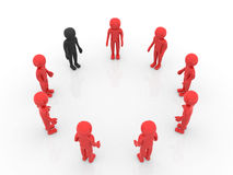 3D man joining a group of people in a circle over a white backgr Stock Photo