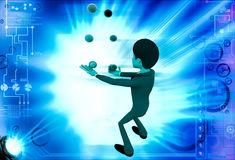 3d man juggle colourful ball illustration Royalty Free Stock Images