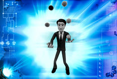 3d man juggle colourful ball illustration Stock Photography