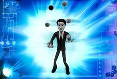 3d man juggle colourful ball illustration Stock Photography