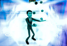 3d man juggle colourful ball illustration Royalty Free Stock Photo